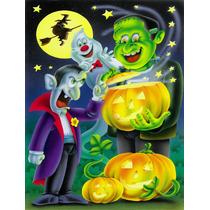 Halloween Con Drácula Y Frankenstein Bandera Verde Superfic