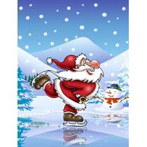 Navidad Santa Claus Patinaje De Hielo De La Bandera Verde Su