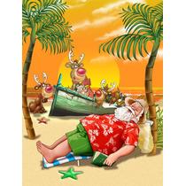 Navidad De La Playa De Santa Claus Siesta Bandera Verde Supe