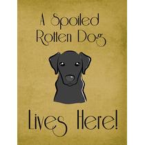 Labrador Negro Perro Estropeado Vive Aquí Bandera Verde Sup
