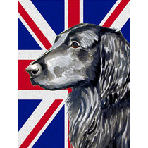 Flat Coated Retriever Con Union Jack Británica Inglés Band