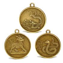12 Monedas Chinas Colguijes Dijes Dorado Brillante Zodiáco