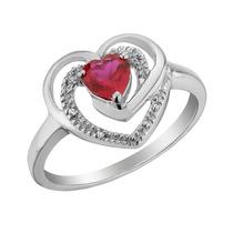 Creado Anillo Corazón De Rubíes Y Diamantes 2/5 Carat (ctw