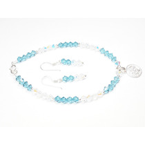 Pulsera-aretes De Cristales Azules-transparentes C/ Dije De