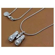 Cadena Y Dije Binoculares-lentes-de Plata.925 -flete Gratis