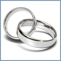 Argollas De Matrimonio Mod. Classic En Oro Blanco 14k Solido