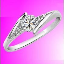 Hermoso Anillo De Compromiso, Oro Blanco Y Diamantes Natural