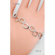 Pulsera Oro 14k Blanco Con 88 Diamantes Corte Completo Dama