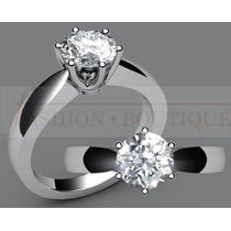 Anillo Con Diamante Redondo De 1,00 Ct. En Oro De 14k