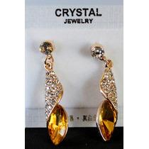 Aretes Cristal Austriaco--color Ambar Y Verde Flete Gratis