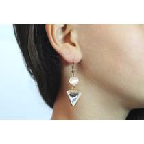 Arete Moda Largo Dorado Triángulo Cristal Ar212