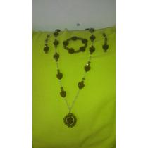 Collar, Aretes Y Pulsera De Cristal Swarosky Morados Nuevos