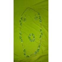 Collar, Aretes Y Pulsera De Murano Verde Y Cristal Nuevos