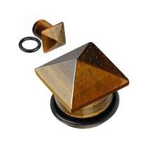 Expansor De Ojo De Tigre Diseño Pirámide Café