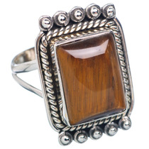 Tiger Eye, Ojo De Tigre 925 Plata Ring 8.25