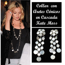 Collar Largo Doble Y Aretes Cascada Estilo Kate Moss + Envio