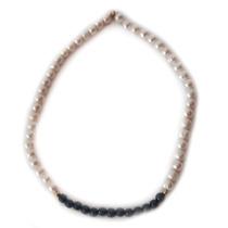 Collar De Perlas Auténticas Oro Laminado, Piedras Naturales
