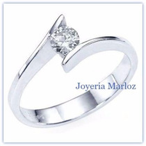 Anillo Comprmiso Oro Blanco 14kt Diamante Natural .10ct Gh