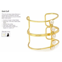 Pulsera Chapa De Oro Con Perlas De Cristal