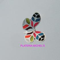 Aretes De Mariposa Multicolor En Plata Ley 0.925