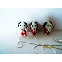 Set Aretes, Cadena Y Dije Snoopy-snopy-perro