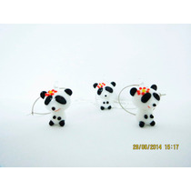 Set Aretes,cadena-dije Oso Panda-con Flor-flete Gratis