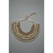 Collar Hecho A Mano Con Perlas, Aluminio E Hilo De Algodon