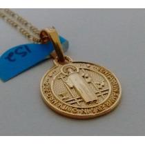 Cadena Y Dije Medalla San Benito Oro 14k