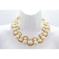 Collar Moda Tipo Gargantilla De Perlas Y Cadena En S Cc191