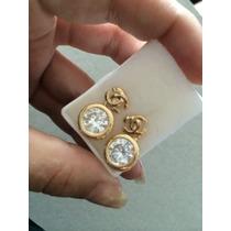 Aretetes Chanel Chapa De Oro 10 K Y Zirconias