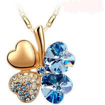 Trebol Del Amor En Cristal Azul Collar Dije Con Cadena