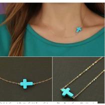 Set Collar Gargantilla Pulsera Cruz Turquesa Tono Oro Plata