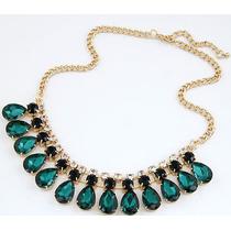 Cadena Collar Dorado Con Cristales Verde Y Negro De Lujo