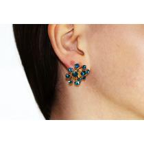 Arete Moda Figura Con Finos Cristales Azul Turquesa Ar178