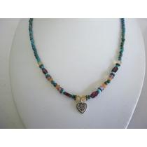 Collar De Turquesa Y Piedras Semipreciosa Y Plata 925