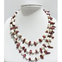 Hermoso Collar De Perlas Barrocas En Blanco Y Rojo.