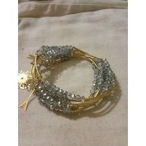 Semanario De Chapa De Oro De 14 K Y Cristal De 4 Mm