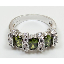 Anillo Oro Gold Filled 10k Con Peridots De 6x4mm #7