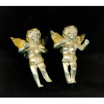 Aretes De Plata 925 De Angeles Con Baño De Oro De 14 Kilates