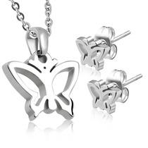 Set De Joyería Dije Y Aretes De Acero Diseño Mariposa