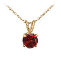 0.12 Ct Redondo Rojo Granate 14k Oro Amarillo Colgante Con C