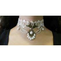 Collar Gargantilla Gótica Victoriana De Encaje Blanco