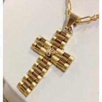 Cruz Tipo Rolex Presidente Oro 14k Nueva Joya Eterna Bella