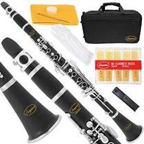 150-bk - Negro Ebonita / Plata Keys Bb Clarinet B Plana Laza