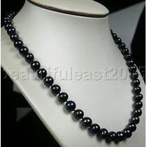 Collar De Perla Negra Genuina C Broche De Plata 234.00 Qt