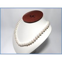 Collar De Perlas Naturales Con Broche De Oro 14k Sencllo