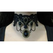 Collar Gargantilla Gótica Victoriana Encaje Piedras Negras