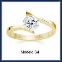 Anillo 14kt Macizo Con Diamante Ruso Envio Gratis
