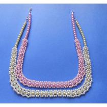 Collar Y Aretes Perla Flores De Perla Lavand-rosa, Verde-blc