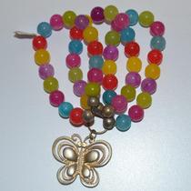 Pulsera De Colores Con Dije De Mariposa